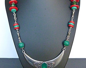 "Necklace-torque ethnic ""Mandalay"" print silver metal, glass beads, silver beads, turquoise gemstone, red wood"