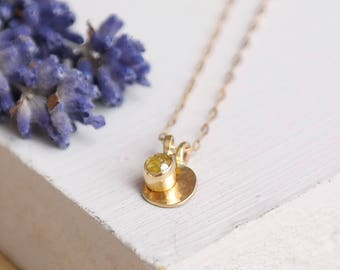 Gold Necklace, Yellow Diamond Necklace, Gold Diamond Necklace, 9ct Gold Necklace, Solid Gold Necklace, Birthstone Necklace, 9ct Gold Pendant