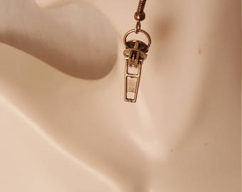 Silver zipper earrings  (ER026)