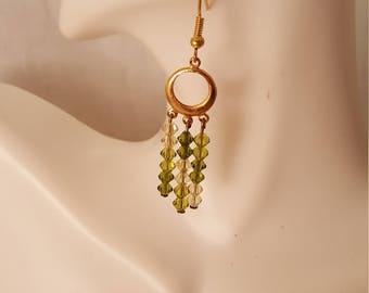 Green crystal & gold earrings  (ER092)