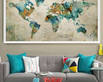 Abstract Large wall art, Turquoise World Map Art Prints, Home Decor World Map Poster Extra Large Wall Art, Push Pin World Map  (L121)