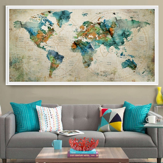 Abstract large wall art turquoise world map art prints home like this item sciox Images