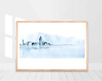 Blue Abstract Art, Blue Watercolor Print, Watercolor Printable Art, Abstract Watercolor Print, Blue Print, Modern Wall Art, Lagoon