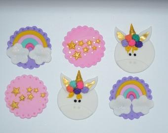 Unicorn Cupcake Toppers, Unicorn Fondant, Unicorn Party, Unicorn Fondant Cupcake Topper, Unicorn Birthday , Unicorn Cake Topper, Unicorn