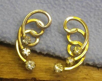 Fabulous Rhinestone Golden Swirls Clip Earrings