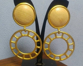 Wood Cabochon with Large Golden Wheel Dangling Clip Earrings