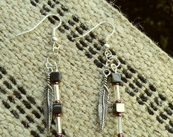 Hematite feather dangle earrings