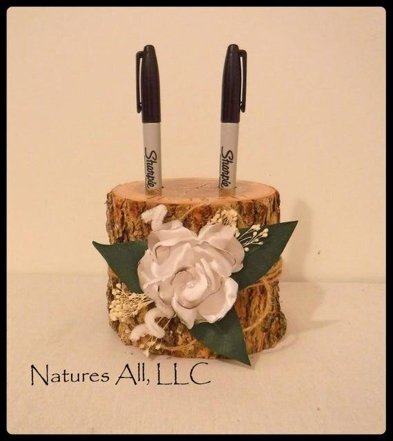 Pen Holder-Tall/Guest Book Pen Holder-Ash With Satin Flower/Wood Pen Holder/Log Pen Holder/Country Wedding Decor/Rustic Wedding Idea
