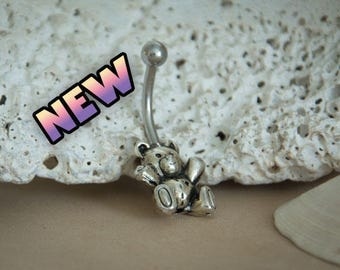 Belly Ring, Cute Teddy Bear Navel Ring, 14g belly button ring, Beach jewelry, surgical steel, unique body jewelry, Kawaii,