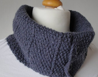 denim-blue knit cowl, unisex neck-warmer, blue infinity scarf, buttoned muffler, textured snood, wool mix loop scarf, unisex circle scarf