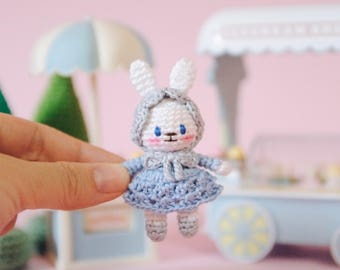 My Little Bunny - Sky Blue ( miniature amigurumi doll / stuffed bunny / small gift / cute brooch )