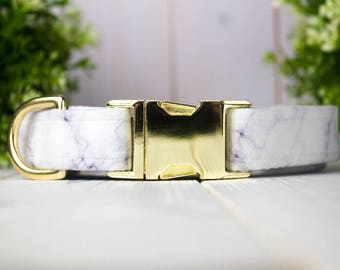 White Marble adjustable Dog Collar with Metal Buckle