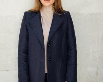 Coat blue   Tailored coat women   Daily coat   3 buttons