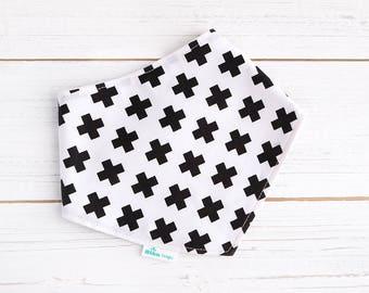 Dribble Bib - Monochrome Dribble Bib -  Swiss Cross Bib - Gender Neutral Bib - Black and White -  Minimalist Bib  - Baby Gift - Baby Boy