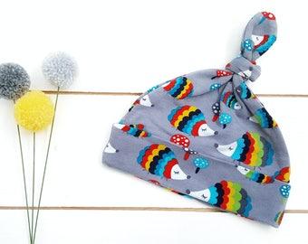 Newborn Baby Hat - Top Knot Baby Hat - Hedgehogs  - Gender Neutral Hat - Knot Beanie - Newborn Beanie -  Jersey Baby Hat - Hospital Hat