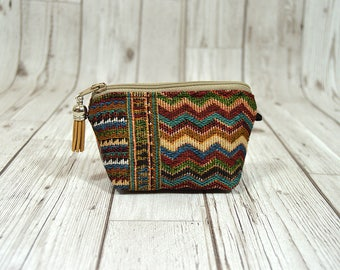 Mexican coin pouch, Minimalist wallet, Hippie wallet, Earphone keychain wallet, Key fob wallet credit card holder, Women keychain wallet