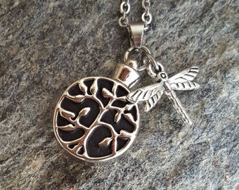 Tree of Life Cremation Urn Pendant | Ash Necklace | Urn Necklace | Dragonfly & Tree of Life Urn Necklace | Cremation Jewelry | Remembrance