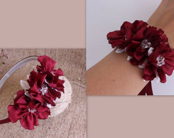 Wedding Marsala Ivory Flower Wrist Corsage,Burgundy Flower headband,Burgundy Maroon Wine Red Corsage,bridal Bridesmaid Corsage,Girl headband