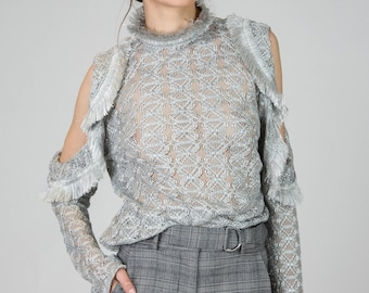 SS17, Adria Grey Silk Off Shoulder Top by Other Theory, 17SS0751