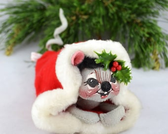Vintage Annalee Mouse In Santa's Hat, 1972 Annalee Dolls Inc Stuffed Mouse