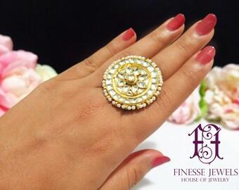 Sabyasachi Gold Kundan Ring, Kundan Ring, Kundan Jewelry, Indian Jewelry, Indian Rings, Kundan Rings