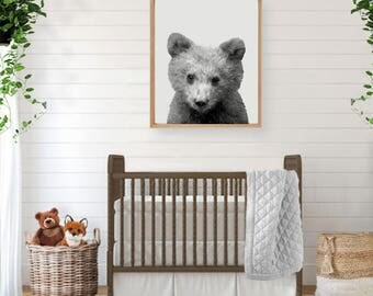 Bear Print, Woodland Creatures, Forest Animal, Woodland Nursery Art, Large Poster, Woodland Baby Shower, Bear, Woodland Wall Art