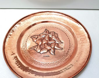 vintage large french Villedieu copper plate, wall hanging copper plaque, limited edition