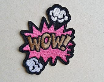 Wow patch, iron on patch, comic patch, fashion accessory, no sew applique, sew on patch, clothing applique, denim patch, patches for jackets