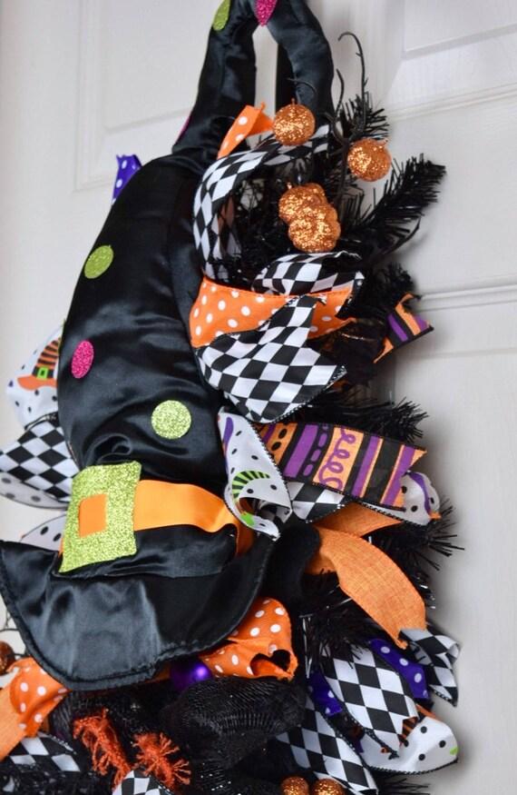 Black Orange and Purple Witch Teardrop Swag Wreath with Glitter Pumpkins; Halloween Witch Decor Wreath; Fall Decor Wreath; Front Door Wreath