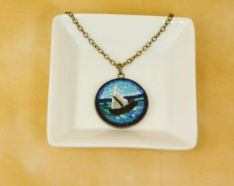 Micro mosaic necklace - seascape with ship