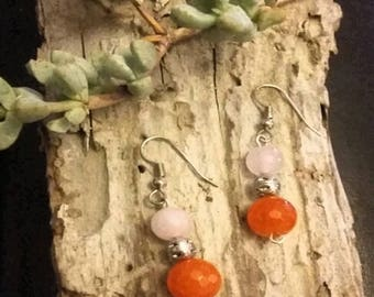 Earrings~Pink & Orange~Drop~Silver Tone~Holiday Gifts for Women