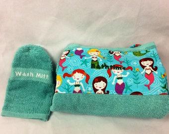 Baby Bath Apron Towel for Moms in Teal: Mermaids
