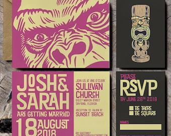 Tiki Wedding Invitations Jungle Invites Gorilla Pop Art Tropical