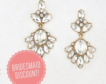 Crystal Clear Wedding and Bridesmaid Statement Drop Earrings