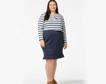 Navy ruffle skirt made in all sizes