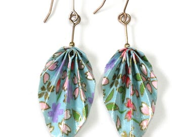 Boucles d'oreilles pendantes en origami feuilles, magnifique papier japonais bleu à motifs floraux