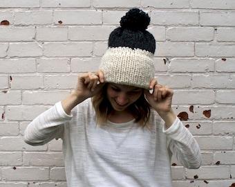 Double Knit Brim Two Colour Pom Pom Hat   Winter Beanie