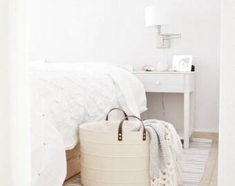 Large storage basket. Laundry hamper. Toy storage basket. Bucket. Bathroom storage bin. Nursery fabric basket Canvas basket White home decor
