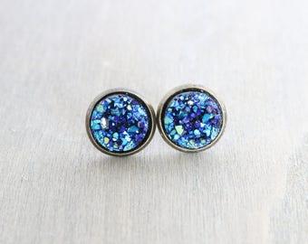 Blue Faux Druzy Bronze Stud Earrings - Chunky Druzy, Sparkly, Bronze Earring Studs, For Her, Gift for Her, Boho Earrings