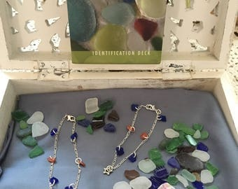 Blue Sea Glass with Red Abalone Anklet and Bracelet
