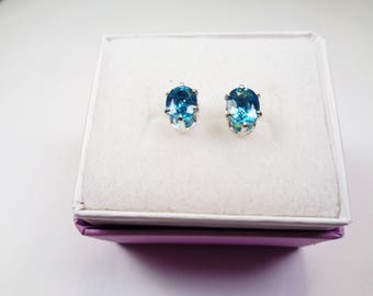 Cambodian Zircon Silver Earrings. Beautiful Natural 7 x 5mm. Oval Blue Zircon over 2 carats total Gem Weight.