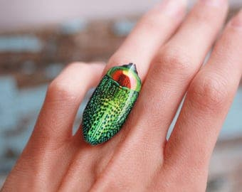 Green beetle ring , Insect ring , Green bug ring , Statement ring , Insect jewelry , Beetles lover Insects lover Bug gift idea Bugs lover