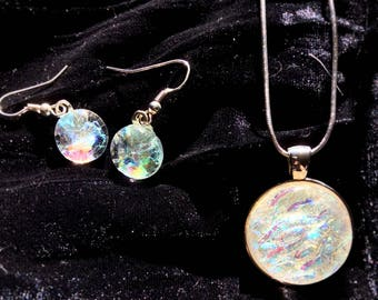 Dichroic fused glass necklace and earring set