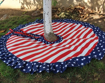READY To SHIP 40 70 Patriotic Tree Skirt Christmas Red And White
