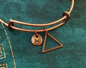 Triangle Bracelet Copper Triangle Bangle Geometric Jewelry Geometric Bracelet Charm Bracelet Pendant Bracelet Personalized Initial Bracelet