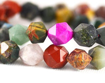 Semi-Precious Gemstone Mix Multi-Stone Star Cut Faceted Beads 9-10mm