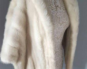 Luxury Vintage White Mink Fur Stole LARGE Mink Cape | Jacket | Shrug | Bolero | Wrap | Shawl |  Luxury Wedding  | Plus Size Bride | Azurene