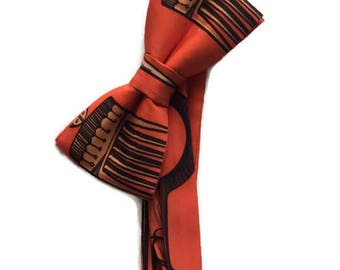 Orange African Print Satin Bow tie And Pocket Square, Afro Comb Adinkra Symbols Bow tie