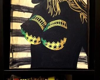 """Kari"" Film Noir Influenced Erotic Painting [12x12"" acrylic on canvas]"