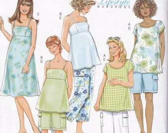 FREE US SHIP Butterick 4527 Separates  Maternity Top Pants Shorts Summer Dress Size 8 10 12 14 Bust 31.5 32.5 34 36  Uncut Sewing Pattern